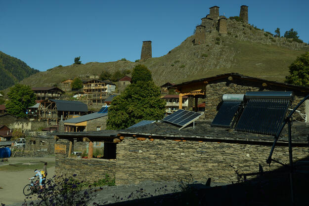 Solar heating systems are used in the village of Omalo, 2018.