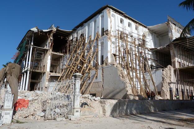 House of Wonders, Zanzibar, after collapse, January 2021