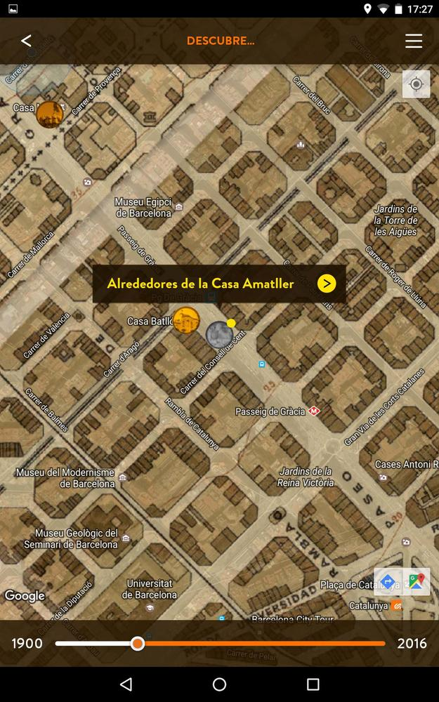A screenshot of the app, showing Modernista buildings in the vicinity of Casa Amatller and Casa Batlló.