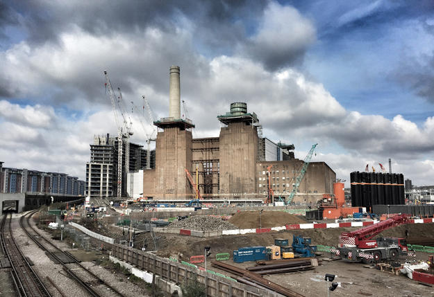 The power station's famous chimneys being removed, 2016