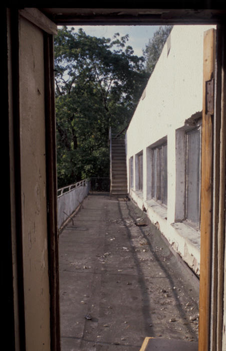 Damage to the lending hall terrace before conservation, 2002