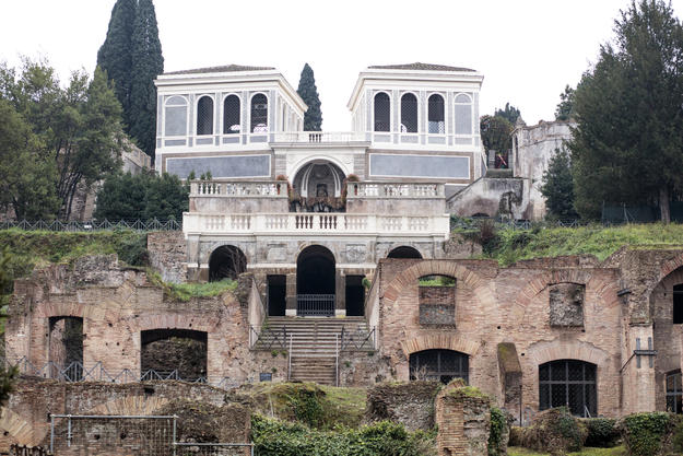 Farnese Aviaries from Foro Romano after restoration, February 2018