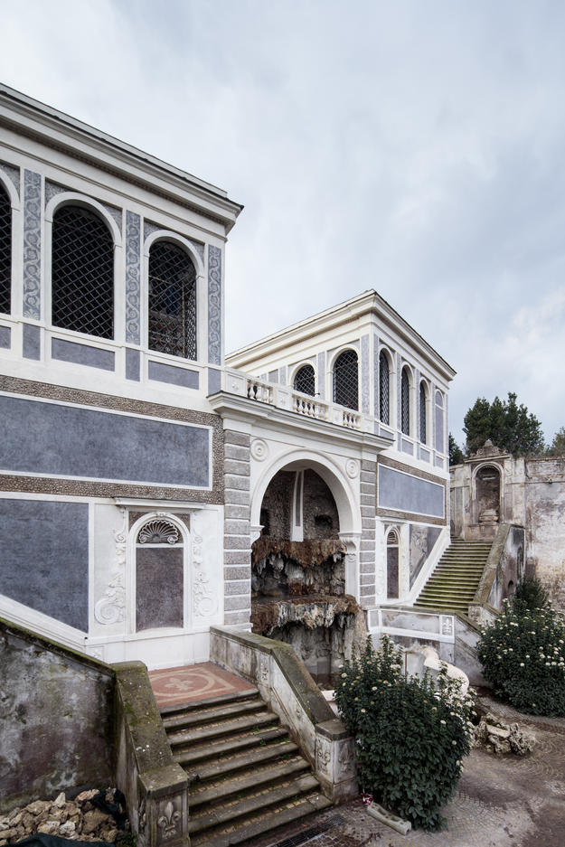 Farnese Aviaries and the Teatro delle Fontane, northeast facades after restoration, February 2018