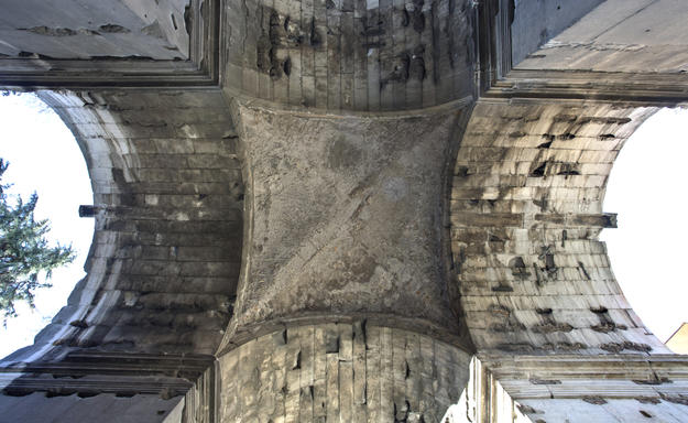 Looking up under the cross vault of the Arch of Janus, 2015