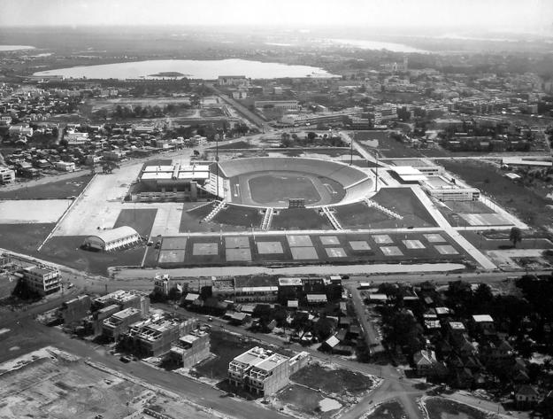 A historic aerial view of the National Sports Complex from the south, ca. 1964