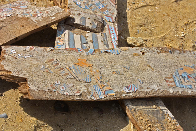 Fragments of a Greco-Roman sarcophagus at Abusir el-Malek, 2013