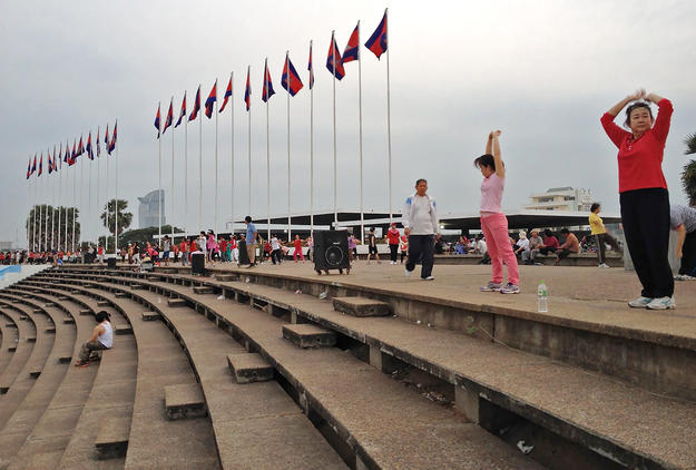 Phnom Penh residents use the complex daily for exercise and recreation, 2014