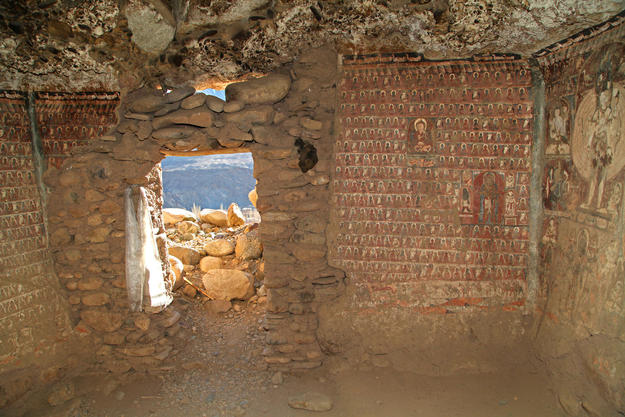 Inside Cave No. 8, significant areas of the sacred paintings have been lost, 2014