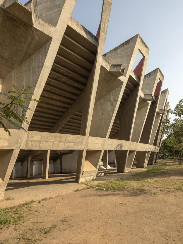 Exterior view of the Sardar Vallabhbhai Patel Stadium, 2018. Photo credit: Ram Rahman.
