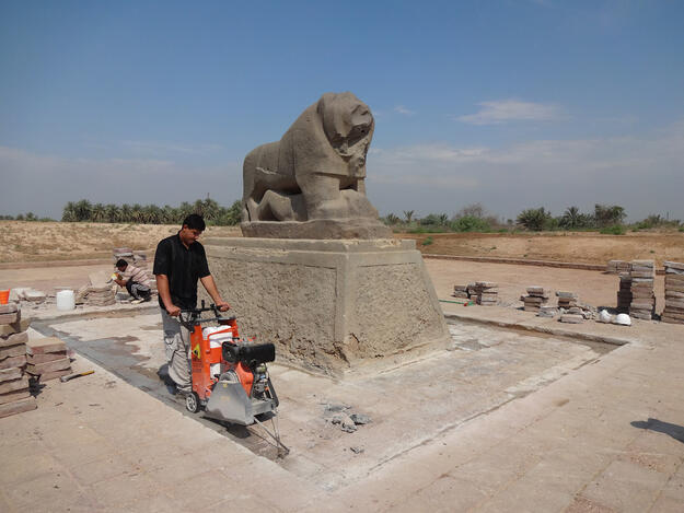 Cutting the pavement around the Lion