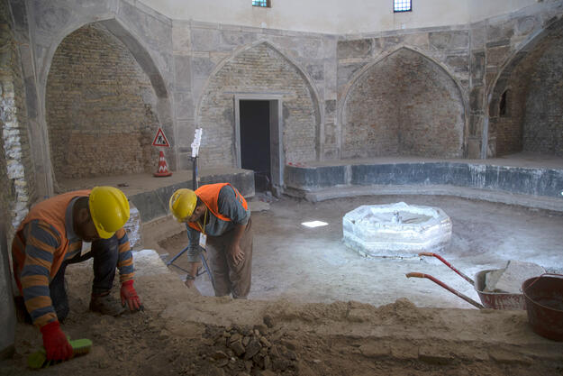 Hammam entrance hall excavations during conservation, 2019