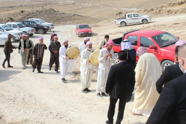 The Yazidi clerics (Qawwalin) arrive at Mam Rashan for a religious blessing ceremony for the start of restoration work, 2020.