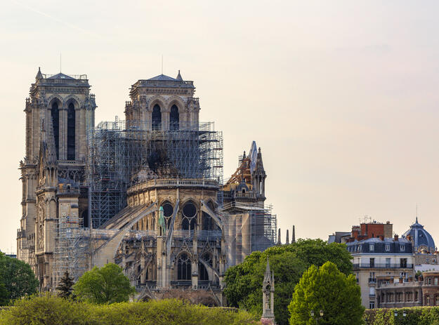 Notre-Dame days following the April 2019 fire.