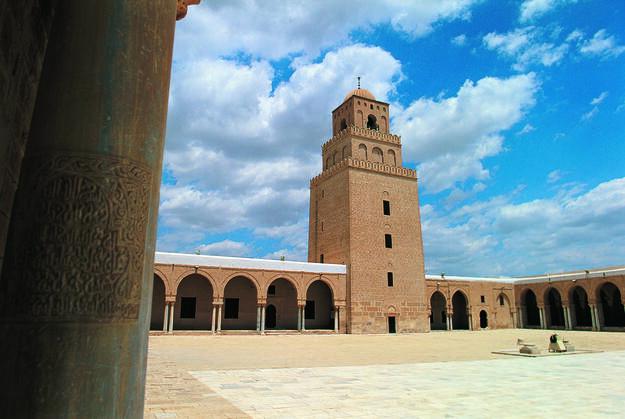 Minaret of the Great Mosque in Kairouan, Tunisia.
