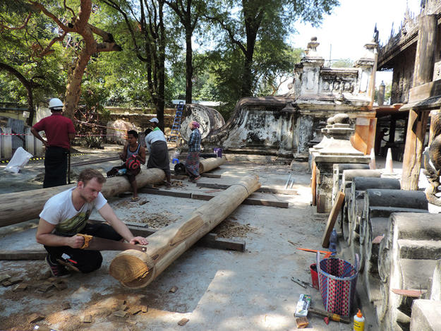 Team members at work on the columns, 2017