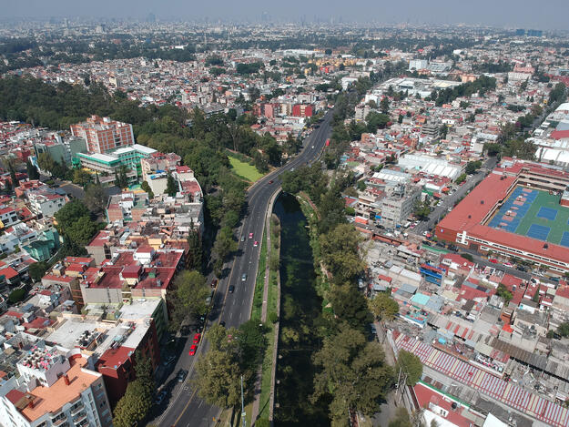 Aerial view of the Canal Nacional towards the center of Mexico City, 2018.