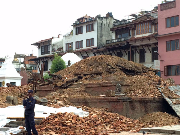 Char Narayan Temple in ruins after earthquake, 2015.