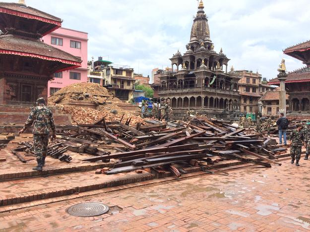 Salvaging materials of Char Narayan Temple after it was destroyed by the earthquake, 2015