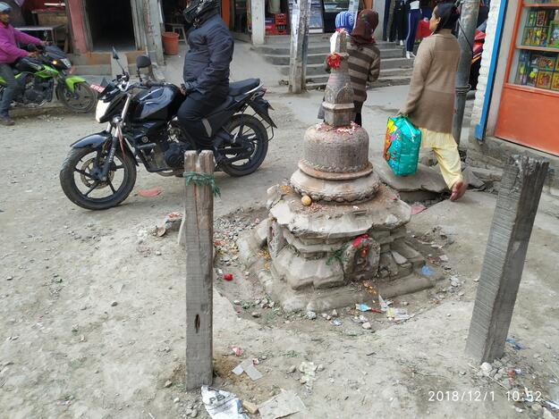 Unplanned urban development in the Kathmandu Valley has led to encroachment onto smaller shrines, 2018.
