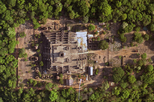 The temple of Phnom Bakheng in a high-resolution aerial photograph, taken during a survey of Angkor, 2012