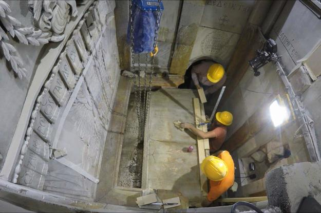 The stone slab covering the burial couch in the Tomb Chamber was temporarily removed in October 2016