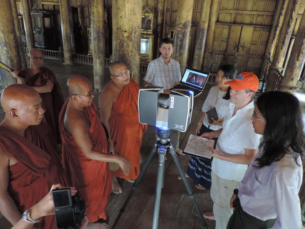 A scanning demonstration for monastic abbots by the University of Florida team members, April 2014