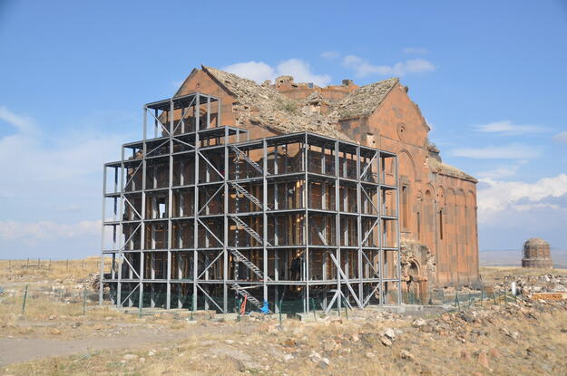 Temporary stabilization for the enhancement of the west wall and southwest corner.