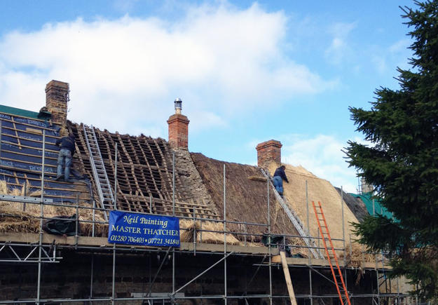 Thatching works underway, 2015