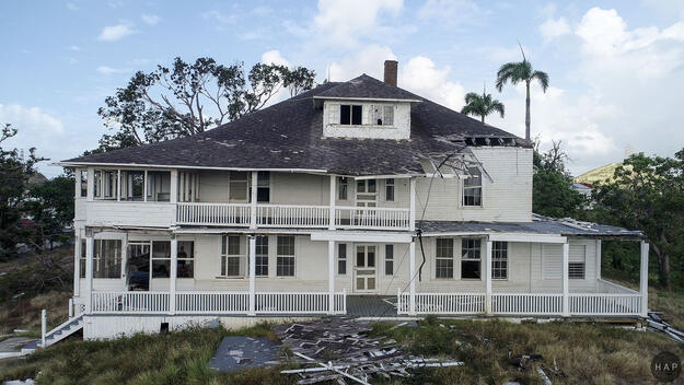 The house of the Principal Administrator, last restored in the 1990s, after the hurricane, 2017.