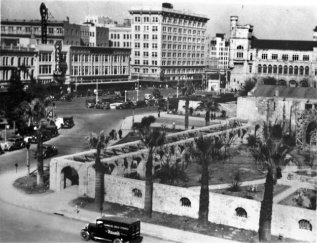 A historic view across the Alamo Plaza looking toward the northwest, ca. 1935. Photo courtesy UTSA Archives Special Collections.
