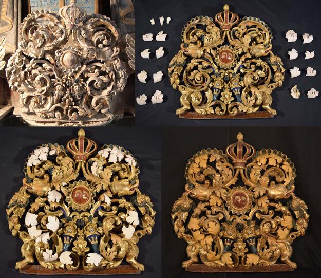 The aron kodesh during conservation, Great Synagogue of Iasi, Romania
