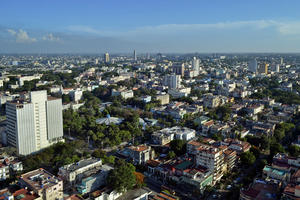 Aerial view of the expanse of the tree-lined grid of El Vedado with its eclectic mix of architectural styles, 2014