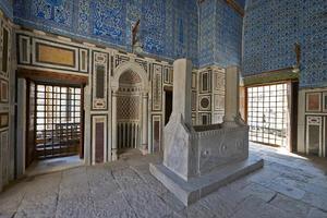 Mosque of Amir Aqsunqur al-Nassery, also known as the Blue Mosque (1347), Darb al-Ahmar, Cairo, Egypt, JUly 2013.