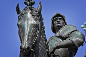 View of horse and rider, after conservation, c2007