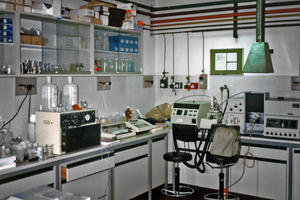 Interior view of one of the lab spaces in the Misericordia Conservation Laboratory. The expertise of the facilityís staff has been integral to other WMF restoration efforts at important heritage sites like St. Trophime Cathedral in Arles and the edifice , c1982