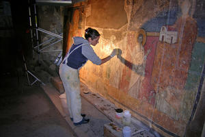 Conservator at work, May 2007
