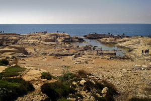 A view of the Dalieh of Raouche, an open rocky area along the sea shore of Beirut, 2014