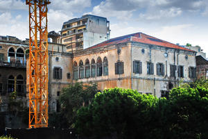 Heneine Palace seen with other historic buildings like Ziadeh Palace to the left, amid new construction, 2012