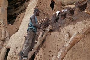 Chantier de restauration d'un monument culturel en terre à Banani (région de la falaise)/Building site of restoration of Banani area, October 2011