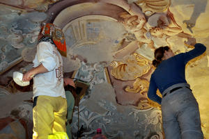 Conservation work on Baroque wall paintings in the Calvary Lower Church, Chapel No. 4.