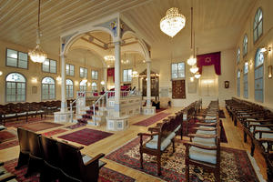 The Algazi Synagogue interior view, the Bimah, the Tevah and the seats, June 7, 2007