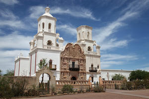 "The faÁade of Mission San Xavier del Bac, known as the ""White Dove of the Desert"" thanks to its bright limewashed exterior, 2011"
