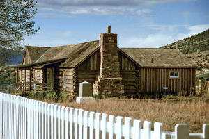 Last remaining log cabin at Fort Apache, conservation completed in 1996. It currently houses the tribe's Enterprise Division and Office of Tourism., January 1999