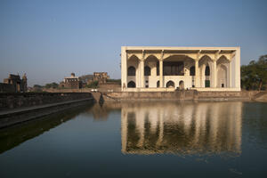 Bijapur's Asar Mahal faces a large pool to the east. Photo credit: Joginder Singh.