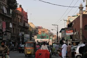 A busy street in the Anarkali Bazaar, 2017.