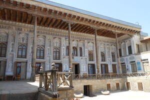 The interior courtyard of a traditional Bukharian house, 2013.