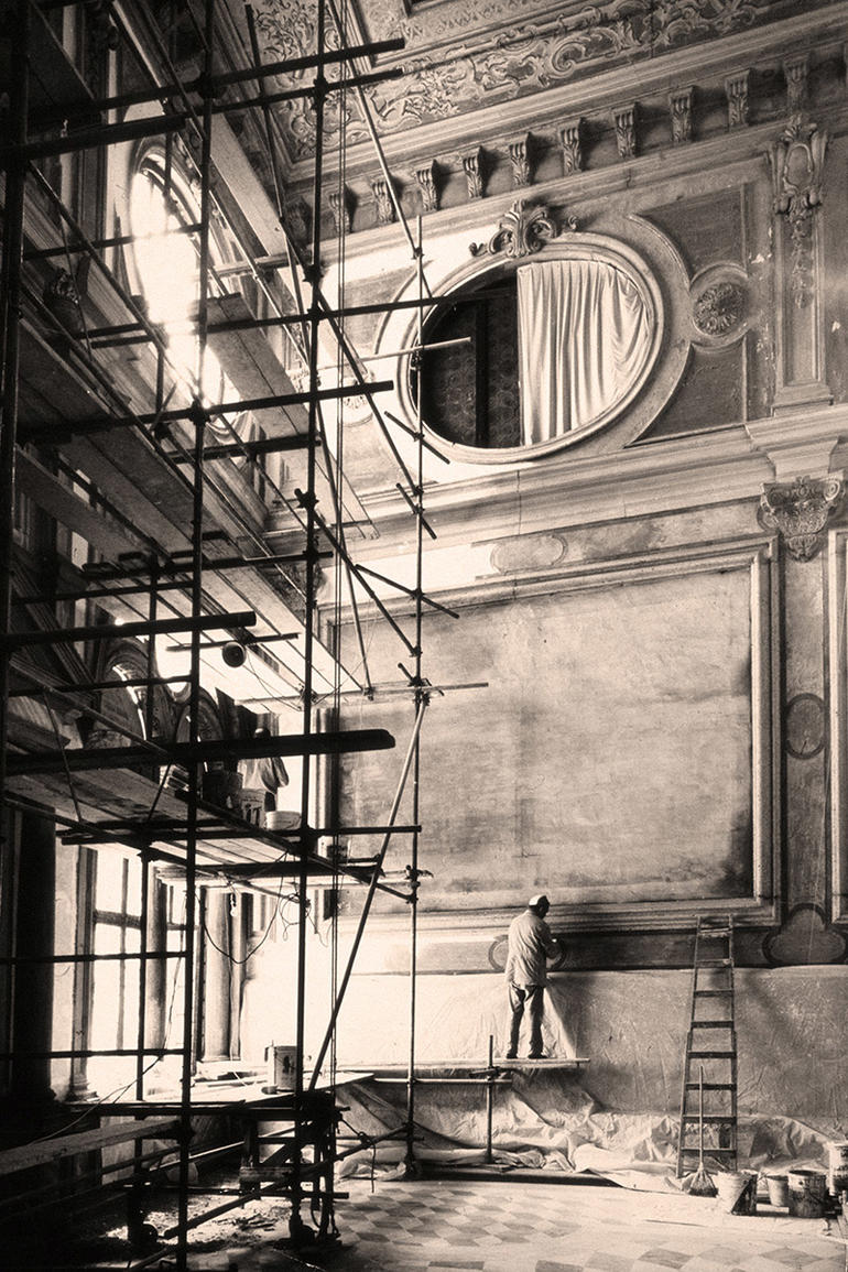 Restoration works at the Scuola Grande di San Giovanni Evangelista, circa 1977