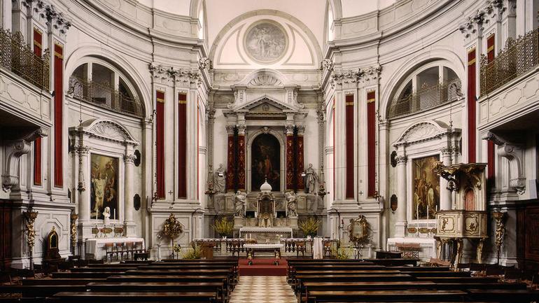 View towards the altar of Santa Maria della Visitazione after restoration, 1978