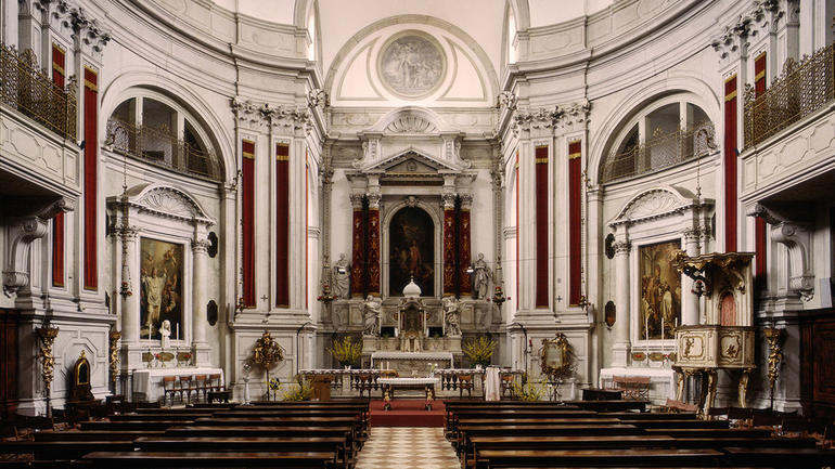 View towards the altar of Santa Maria della Visitazione after restoration, 1978