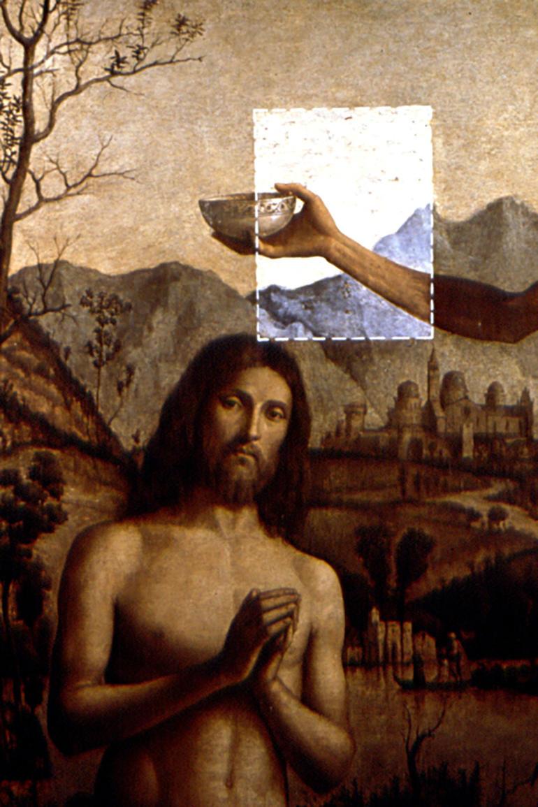 Cima da Conegliano's Baptism of Christ, during conservation, 1989